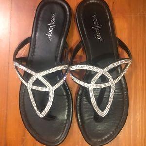 Black glitter sparkly flip flops